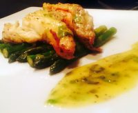 lobster tail and asparagus